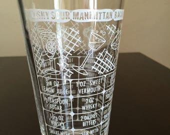 Vintage Federal Drink Receipe Glass