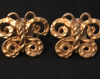 Vintage Earrings Large Gold Clips  Mid Century Modern Butterflies