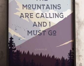 mountains are calling,  Illustrative design-18x24