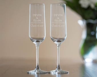 Etched Toasting Flutes (Set of 2): Personalized Champagne Glasses, Etched Champagne Glasses, Personalized Toasting Flutes