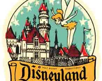 Vintage Style Disneyland Tinkerbell Anaheim California Travel Decal sticker