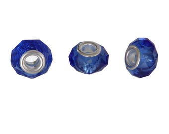 Bag of 3 charms blue glass faceted donut rondelle beads translucent 14x9mm