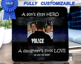 A Sons First Hero A Daughters First Love Police Dad Police Officer Gifts Police Daughter Police Son Law Enforcement Dad Police Frames Leo