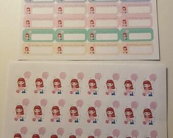 Red Head Girl Birthday Reminder/Birthday Girl Stickers