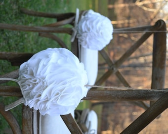 "Fabric Blooms: Set of TEN (10) 7"" fabric pomanders for WEDDING"