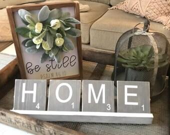 Home scrabble tile set & tray, gift, farmhouse style