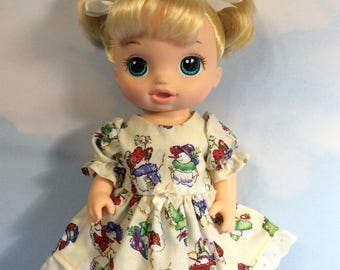 "Snowman friends dress fits 12"" baby Alive doll"