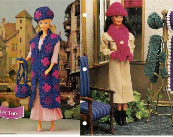 Travel Trio and Wintertime hats & Accessories Crochet Patterns Annies Fashion Doll Crochet Club FCC06-02 and FC023