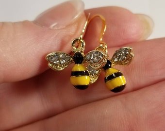 Bee Earrings, Bumble Bee Earrings, Honey Bee Earrings, Bee Jewelry