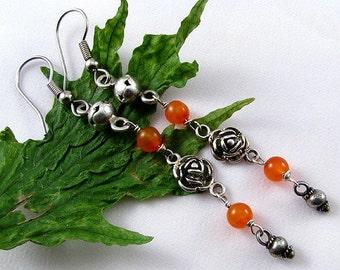 """Orange Carnelian Stone sterling silver rose earrings, 2 3/4"""" long dangle handmade OOAK"""