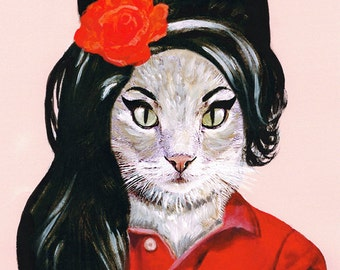 Animal painting portrait painting Giclee Print Acrylic Painting Illustration Print Rock art wall decor Wall Hanging: Amy Winehouse cat