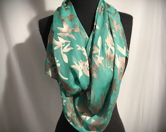 Springtime Burnout Silk Scarf//Large//Branches//Fawn//Seafoam//Original//Gift for Her