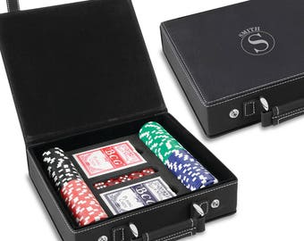 Personalized Black & Silver 100 Chip Poker Set - Poker Gift - Groomsmen Gifts - Gifts for Him - Gifts for Dad - Gifts for Men -  GC1672