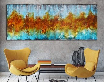 Long modern painting on canvas, abstract art, orange aqua blue painting , lobby art, office painting, living room wall art