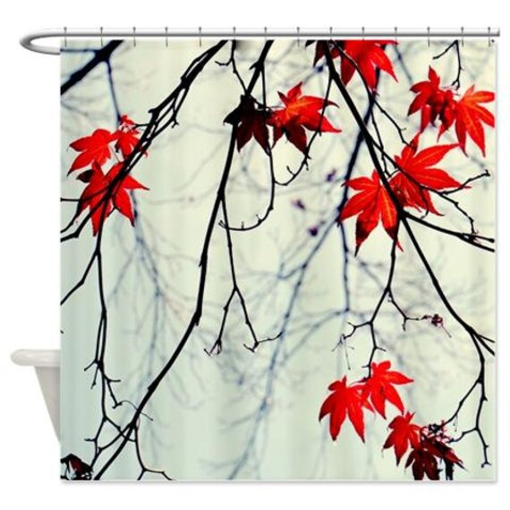 Tree shower curtain mint red black bathroom decor tree