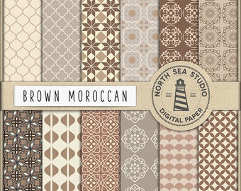 BROWN MOROCCAN, Arabic Digital Paper, Oriental Patterns, Set of 12 Scrapbook Papers, 12X12 Inches, Instant Download, Coupon Code: BUY5FOR8