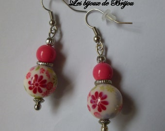 Spring - dangle earrings spring glass beads and metal