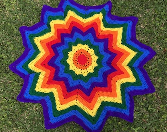 Baby Blanket, Crochet Baby Blanket, Blanket, Crochet Blanket, 12 Point Star Blanket, Crochet Rainbow Blanket, Rainbow Baby Blanket, Rainbow