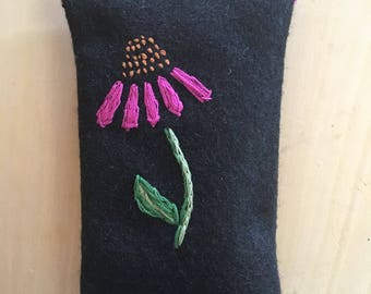 Embroidered Echinacea Purple Coneflower Felt Handmade Pouch