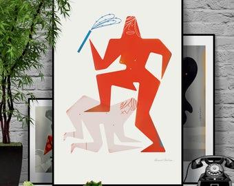 Touch me 4/4. Original illustration art poster giclée print signed by Paweł Jońca.