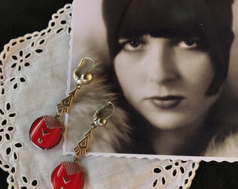 1920 - French true Vintage Art Deco earrings in red galalith with silver geometric decor - Roaring 20s Flapper Miss Fisher