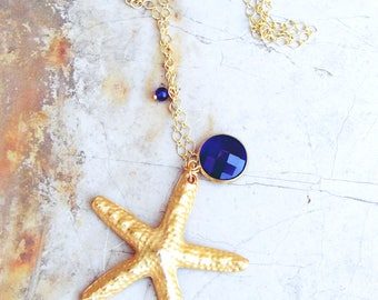 Boho necklace-starfish necklace-bohemian necklace-mermaid necklace-gypsy necklace-hippie necklace-crystal necklace-gift under 25-gift idea