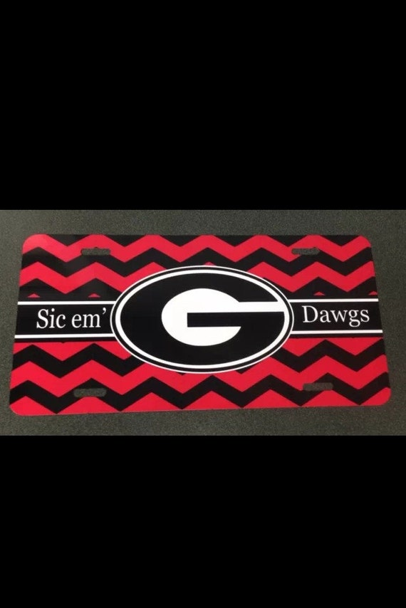 UGA Georgia bulldogs red black chevron metal car tag