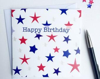 Birthday stars card - Birthday card -Blue and green stars - Male birthday card - Starry birthday card