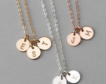 Perfect Gift for Wife, Custom Initial Necklace, Mothers Necklace, Initial Disks, Tiny Gold Disks, Sterling Silver, Gold Fill, Mom Gift