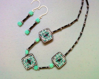 Black, Aqua and Gray necklace and earrings (0349)