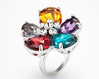 Elegant Unique Crystal Flower Ring