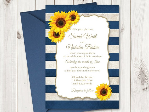 Forget Me Not Wedding Invitations: Sunflower Wedding Invitation Printable Template With Navy Blue