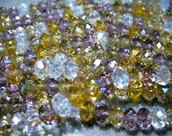 Crystal Beads Smoke Eyes Faceted Rondelles 6x4MM