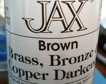 4 oz. (118 ml) - Wide Mouth Jar ~~ Jax Brown Darkener for Copper, Brass & Bronze Metals only.   Doesn't work on Solder.