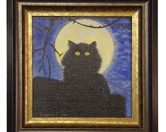 Oil painting cat Picture of a night cat Oil painting cat at the moon Oil painting in the children's room Art home decor Cat on the roof