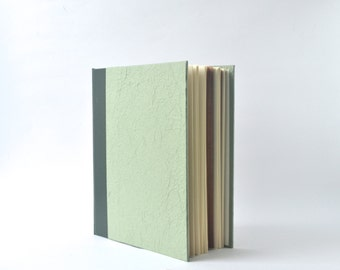 Two Tone Green Handbound Journal, Green Starburst Album, Textured Hardcover Sketchbook