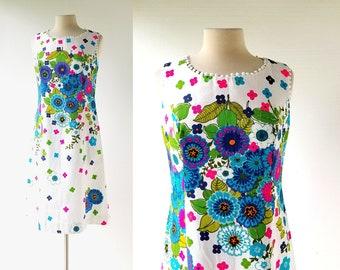 1960s Shift Dress   Traumgarten   Mod Floral Dress   Small S