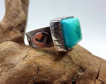Sleeping Beauty Turquoise and Sterling Silver Ring. size 7 1/2. Southwestern style ring, Square gemstone ring.