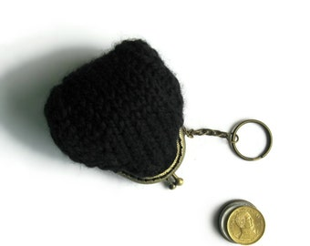 Coin Purse Knitted with Black Wool