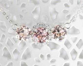Blush necklace,blush crystal necklace,crystal necklace,swarovski,swarovski necklace,swarovski blush necklace,blush and silk necklace,bridal