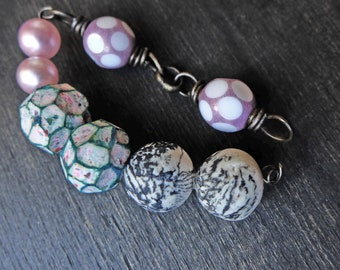 Earring pairs by fancifuldevices-  rustic handmade art beads