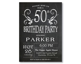 50th Birthday Invitation for men or women. Chalkboard 30th 40th 60th 70th 80th Any Age. Black and White. String Lights. Printable Digital.
