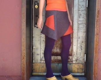 Mini Skirt, Women's Skirt, Felted Wool, Winter Style, Asymmetrical, Flared Skirt, Cute Skirt, Purple, Orange, Color Block, Pocket, Yes