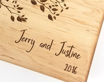 Personalized cutting board, wedding gift, custom cutting board, engraved cutting board, anniversary gift, birds on a branch with first names