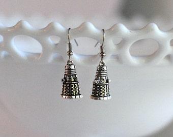 Doctor Who inspired earrings, Dalek jewelry, Robot dangle earrings
