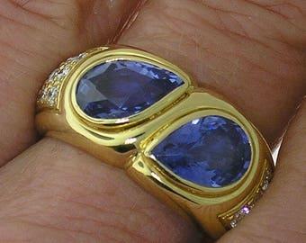 BVLGARI SAPPHIRE RING-Bulgari Cornflower Blue Sapphire and Diamond Ring