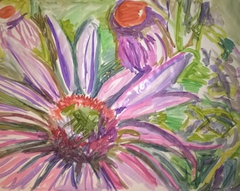 Purple flower water color painting.