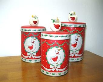 Noël d'oie oies vacances cuisine rangement boîtes ensemble