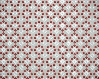 1940s Vintage Wallpaper by the Yard - Burgundy and Gray Geometric Design