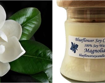 Soy Scented Candle Magnolia Hand-Poured 12 oz Jar With Wood Lid